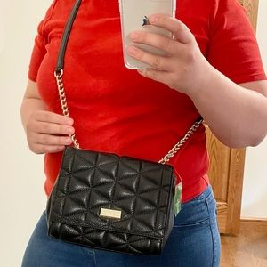 Kate Spade quilted black leather crossbody purse